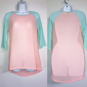 Umgee Sheer 3/4 Sleeve Tunic Pink/Teal Small